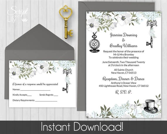 Alice In Wonderland Invitation Template Free Rsvp Card Etsy