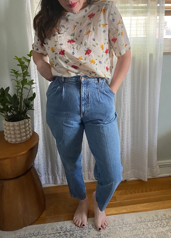 90s High Waist Mom Jeans - Pleated Mom Jeans - Vin