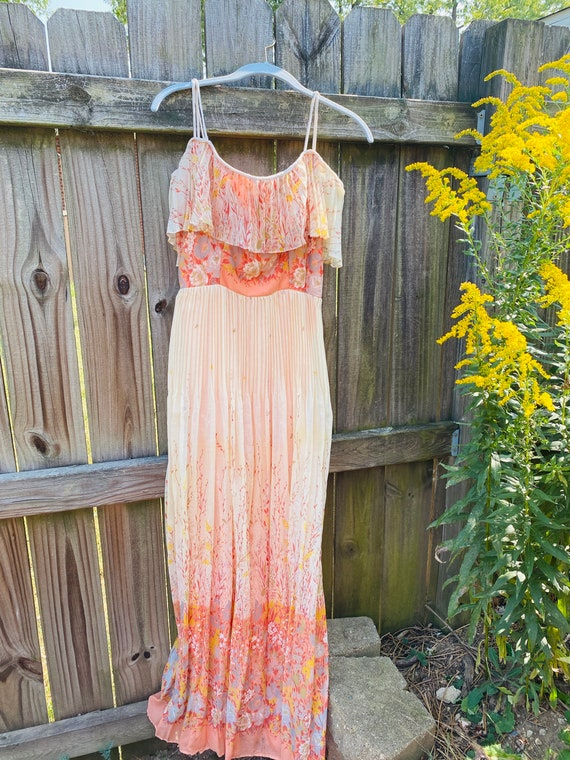 70s Off The Shoulder Dress - 70s Floral Maxi Dress