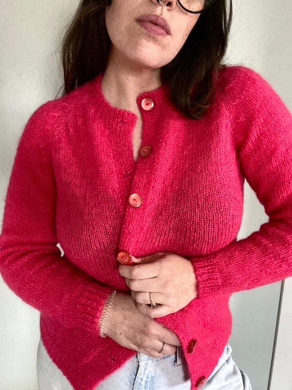 Vintage Hand Knit Mohair Blend Cardigan - Vintage