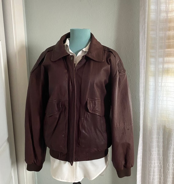 Vintage Leather Bomber Jacket - Brown Leather Jack