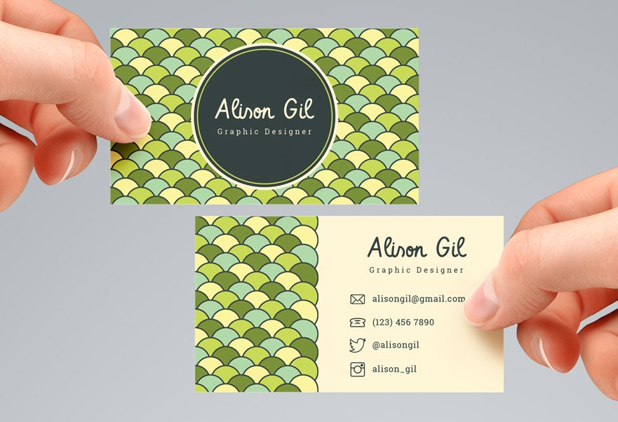Circle Pattern Business Card Template Digital File. BCTD