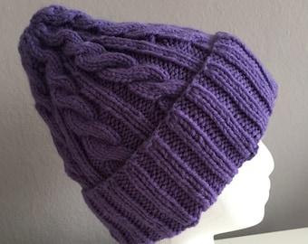 Purple Cable Knit Hat