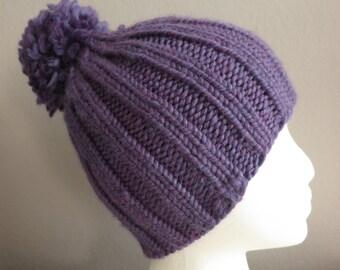 Purple Knit Hat with pom pom