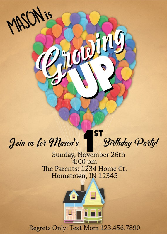 Disney Pixar UP Birthday Party Invitation