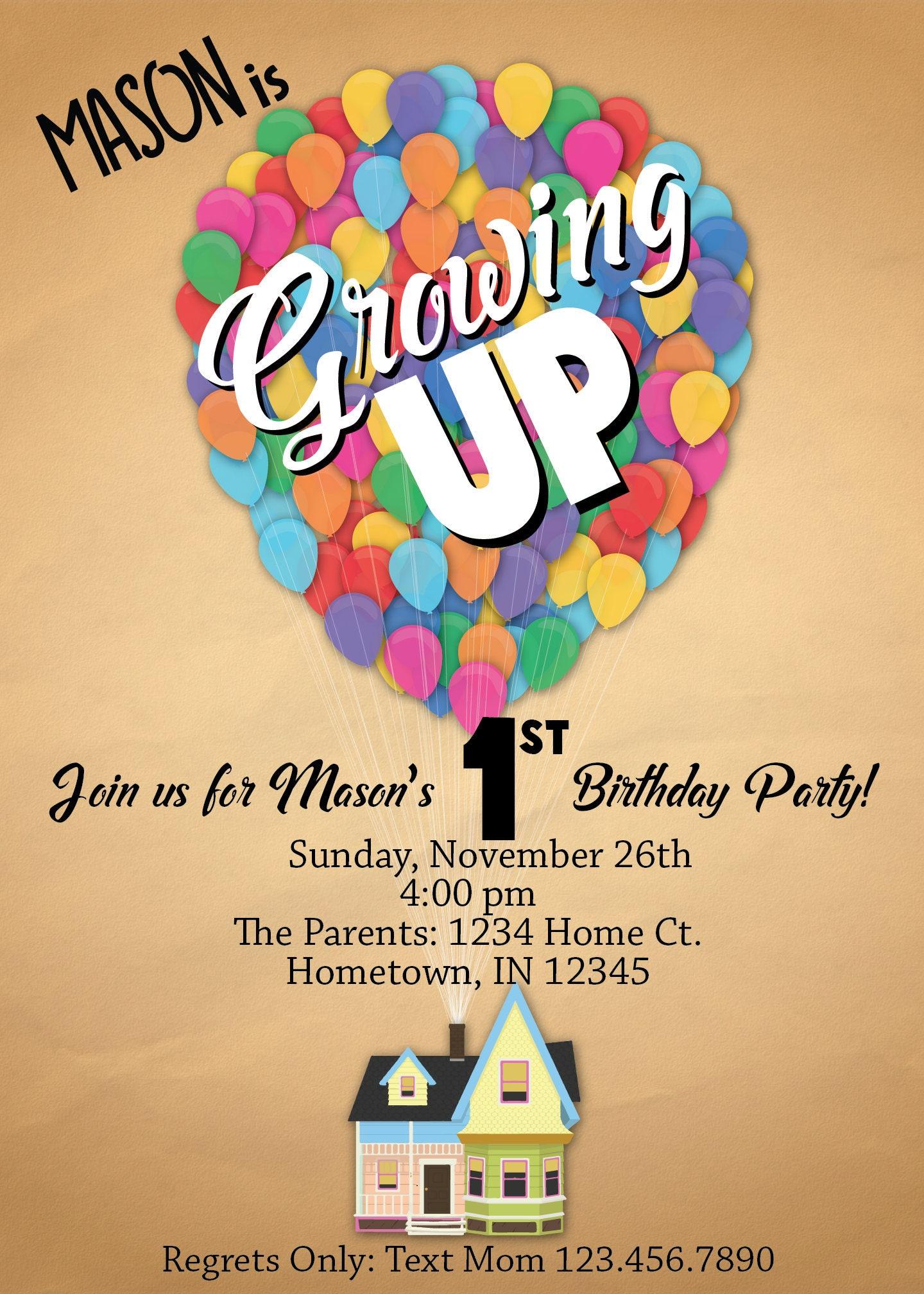 disney pixar up birthday party invitation