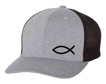 009fe05f94c10 JESUS Fish God Religion Christian Flex Fit Hat   ROUND Bill      Free  Shipping in BOX