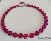 Fuschia crystal Collet Necklace, Anna Wintour Necklace,rose Riviere Necklace, Georgian Paste choker, pink regency Jewelry,18th Century