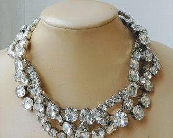 42c8fd290 glamour necklace,cushion cut diamond necklace,statement necklace,Swarovski  crystal necklace,wedding jewelry,prom jewelry,fabulous jewelry