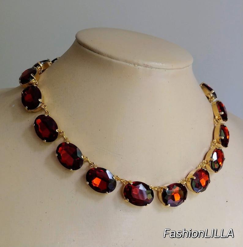 Anna Wintour Necklace,Burnt Orange Crystal Collet Necklace,Georgian Paste Riviere,topaz Statement Necklace,Madeira Topaz Necklace riviere