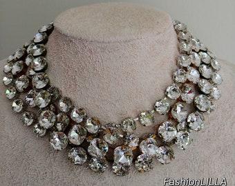 anna wintour necklace, Swarovski cushion cut crystal necklace,diamond Georgian paste,old mine cut riviere,wedding necklace for bride