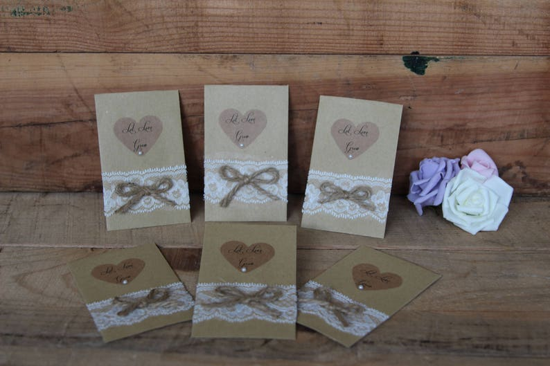 Let Love Grow wedding wild flower seed favours