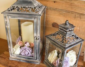 Small Rustic Lantern table centrepiece