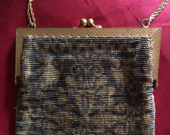 In Antique Art Deco Steel Cut Beaded Bag Geometric Pattern With Fringe Novel Design;