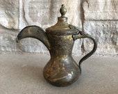 Brass Turkish Coffee Pot Middle Eastern Dallah Tea Pot Vintage Metal Mid Century Arabic Pitcher Kettle Persian Decor