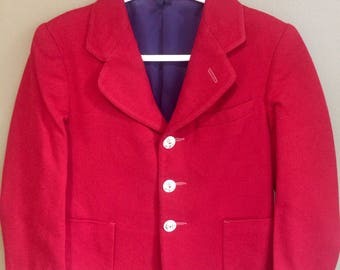 vintage boys red wool blazer christmas jacket size 45 red wool jacket imp blazer holiday outfit nautical red suit coat