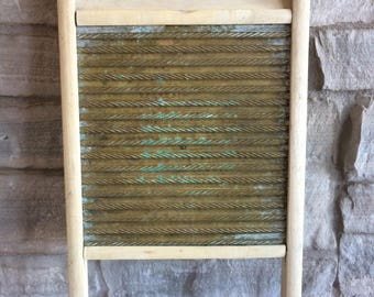 Vintage Washboard Brass and Wood Carolina Washboard Antique Washboard