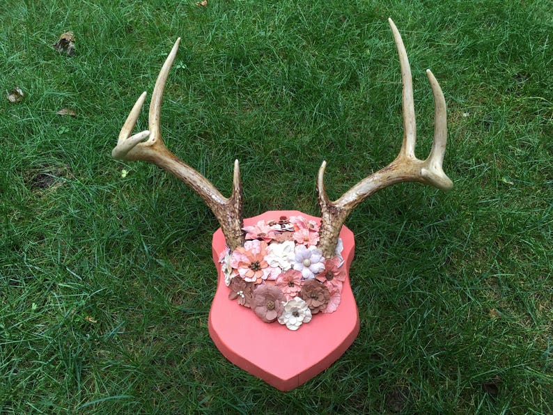 Mounted Antlers with Paper Flowers Wall Art Handmade Antler Art Deer Antler  Rustic Cabin Decor Hunter Gift Orange Peach Tan Brown Flowers