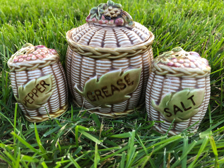 Vintage Salz und Pfeffer Streuer Fett Jar Set Retro braun Tan