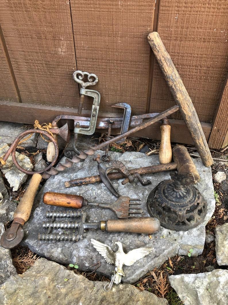 Vintage Rusty Junk Industrial Tool Gavel Ice Auger Decorative Cast Iron  Kitchen Wood Handle Antique Rustic Farmhouse Rustic Mancave Decor