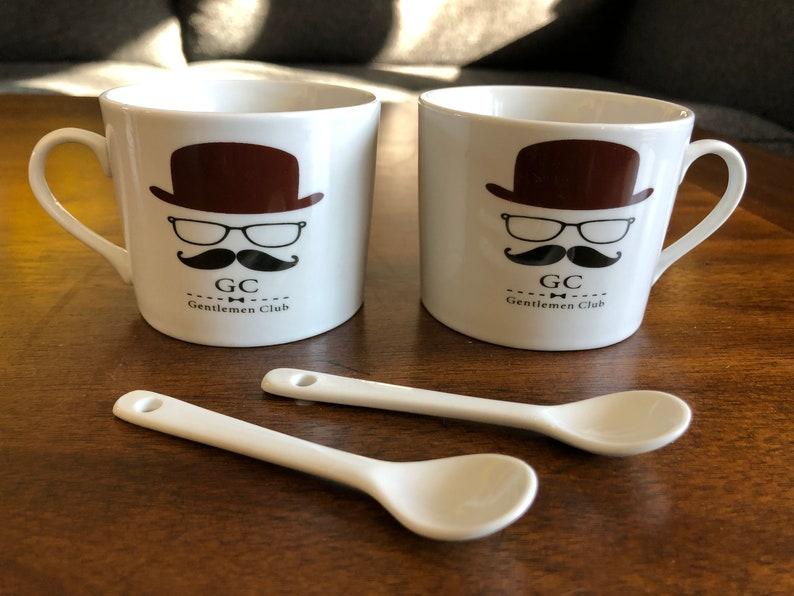 8e36d632e03 Gentlemen Club Mustache Man 2 Coffee Cups with Mini Spoon