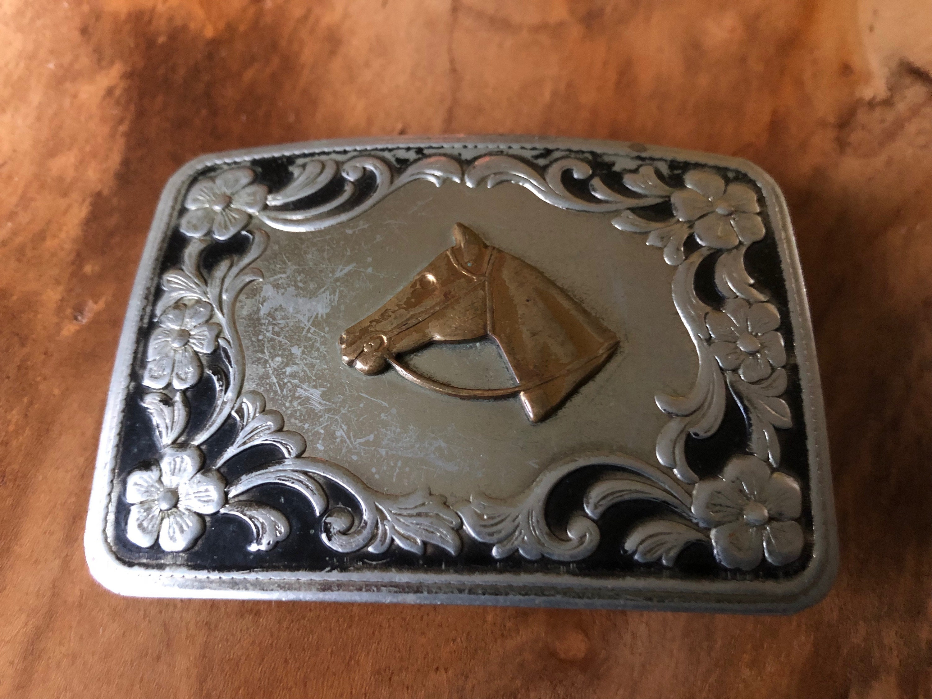 Western Cowboy USA Flag Leather Belt Buckle Patriot American Native Metal
