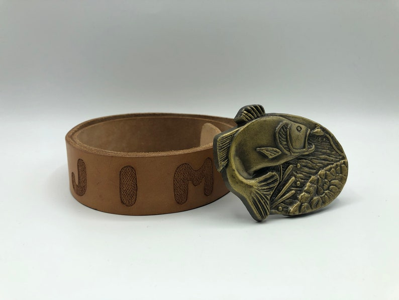 Bronze Fish Belt Buckle Hand Tooled Leather Jim Belt Heavy Brass Vintage Made in USA Fishing Fisherman Belt Buckle JIM Trout Bass Walleye