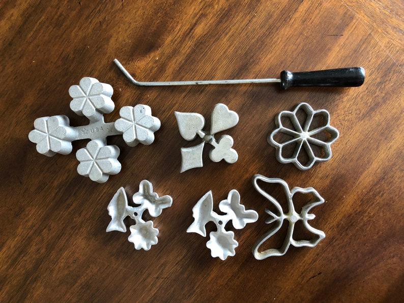 Vintage Scandinavian Rosette Iron Flower Butterfly Rosette Pastry Cookie Iron Swedish Deep Fried Christmas Cookies Retro Kitchen Utensils