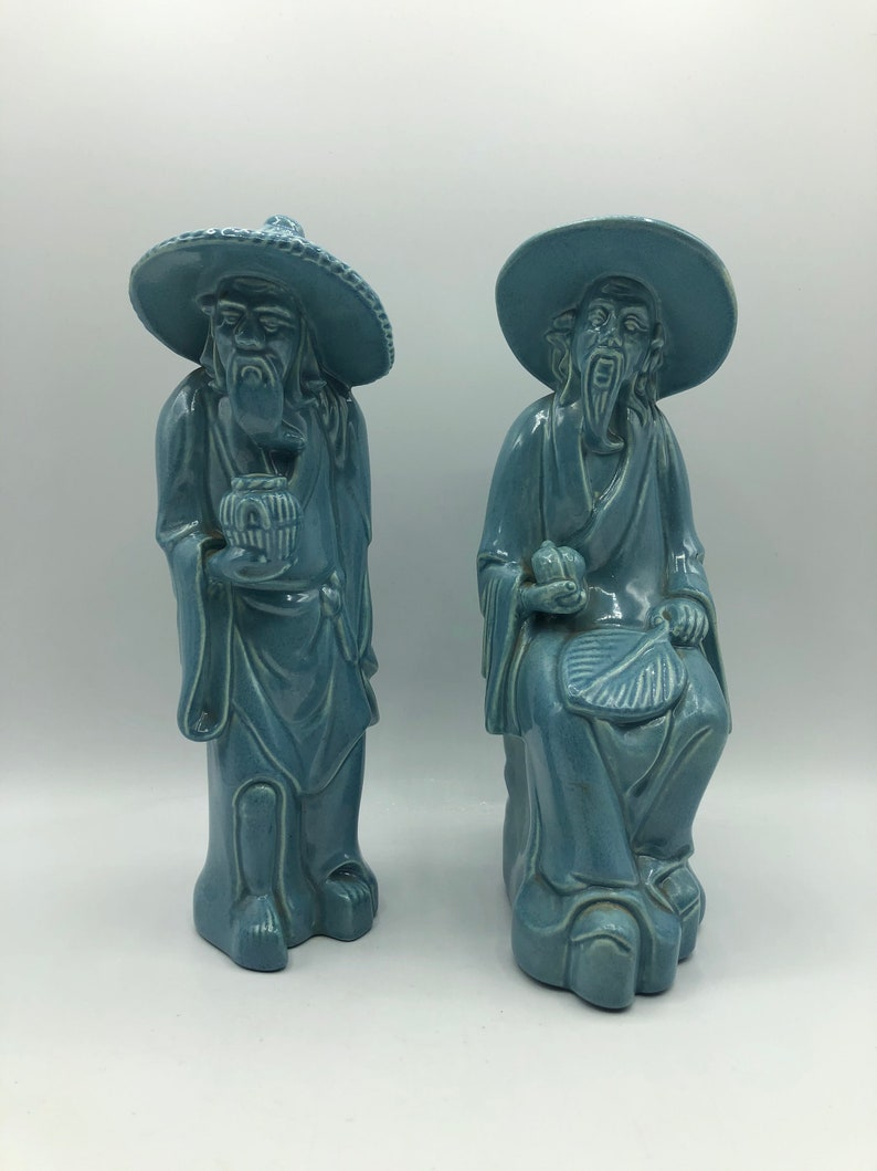 Pair Vintage Japanese Traditional Men Turquoise Robes Conical Hats Robes Mid Century Arnels Statues Aqua Blue Figurines Asian Oriental Art