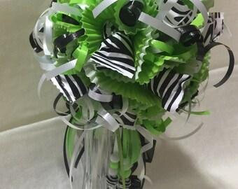 Lollipop/Candy Bouquet - Green Zebra Print