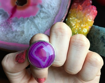 Purple Agate Ring, Size 7.5(925 Stamped)