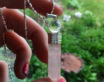 Rose Quartz and Quartz Pendulum Necklace