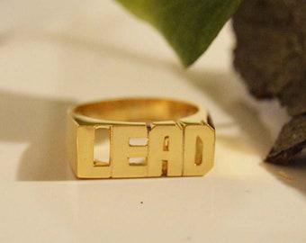 d4f090e500 Gold name rings 10K gold,Custom name ring gold,Word name ring,Couples name  rings,Personalized phrase rings, Gold men rings,Women gold rings.