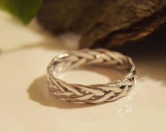 Christmas gift Engagement ring 10kt,Celtic eternity ring,Popular ASGARD ring,Viking braided knot ring.