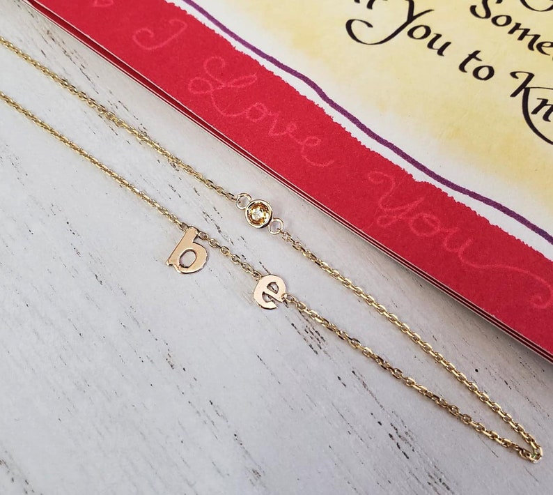 Birthday day gift lowercase Initial and a stone necklace,5mm Initial necklace,Collar necklace,Birthstone Initial necklaces,Initial jewelry.