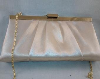 Vintage Wedding Clutch, Satin Sax 5th Avenue Clutch, Handbag,Evening Bag, Vintage clutch, Ivory and Gold Purse