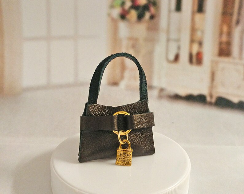 Barbie DOLL PURSE for Barbie Handcrafted 100 percent genuine chocolate brown shimmery leather with gold tone lock charm /& loop Sale Price