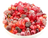 50g Red Burgundy Scarlet Glass Bead Mix - Jewellery Making - Various Shapes Sizes - Preciosa - Seeds - Czech - Pearls - Good Value Lot