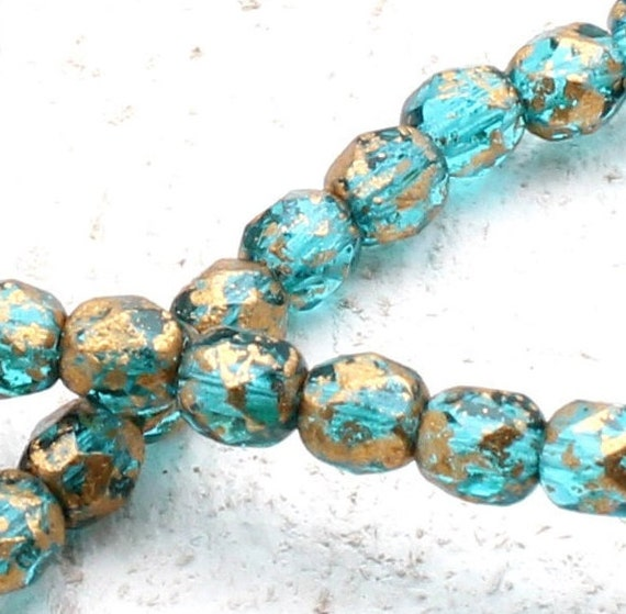25 8mm Turquoise Shiny Bronze Finish Round High Quality Czech Beads T-2B