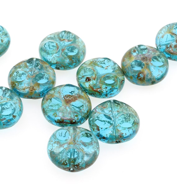 pack of 30 Blue Brown Picasso Round Czech Pressed Glass Beads 8mm