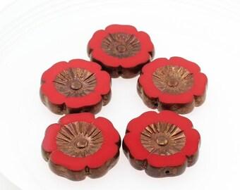 1 (One) x 22 mm Large Focal Czech Polished Glass Table Cut Flower Matte Bronze  Disc Deep Crimson Red Glass Beads