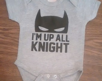 Multiple Color Choices - Batman up all knight (night) onesie for babies or toddler t-shirt - Superhero onesie - Superhero t-shirt