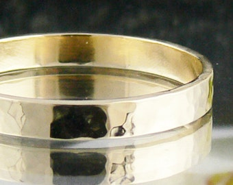 9k Gold Ring - Solid Yellow Gold Band - Ladies or Mens Wedding Ring - Hammered Texture - Made to Order in Australia