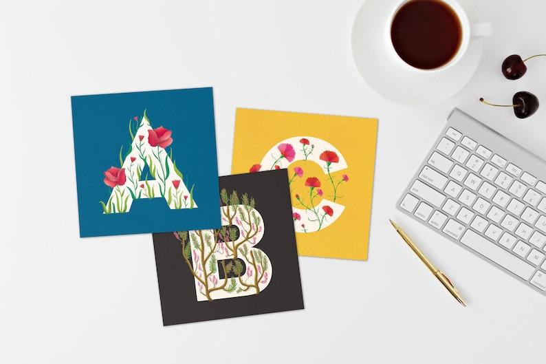 Alphabet flower letter postcards 12x12cm  Botanical image 0