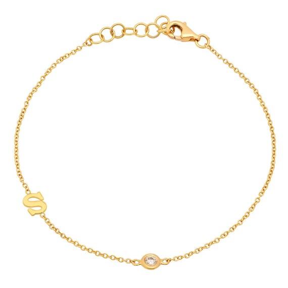 Natural Diamond Letter Bracelet Diamond initial bracelet Yellow Gold Letter 18k Gold Plated Letter Bracelet Dainty Diamond Initial