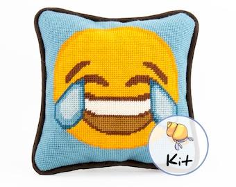 "Small Needlepoint Emoji Kit, Modern Tapestry DIY kits, Fun Needlepoint for Beginners, Emoji Printed Canvas, Stitching kit, Dorm Decor, 8""x8"""