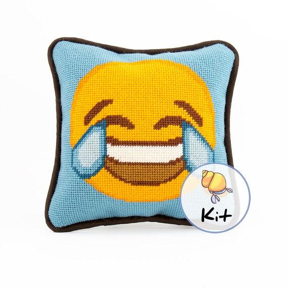 8x8 Needlepoint Emoji Poop Mini Pillow Kit Beginner Needlepoint Pillow Small Needlepoint Kits Emoji Canvas Fun Modern Needlecraft kit