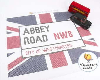 Printed Needlepoint Canvas. Abbey Road or Baker St London street sign. Tapestry canvas. Modern needlepoint project for beginners. UK decor