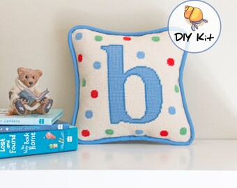 Initial Needlepoint Kits for baby's room, Custom needlepoint for beginners, baby boy tapestry kit, nursery monogram pillow, easy crafts, 8x8