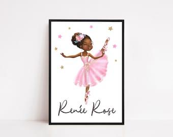 Personalised Ballerina Print | Girls Room Wall art, Pink Girls Room decor, Childrens print, Cute Ballerina Art, Black girl wall art